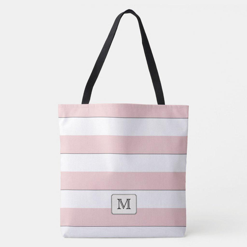 Pastel Red Stripes on any Color Custom monogram