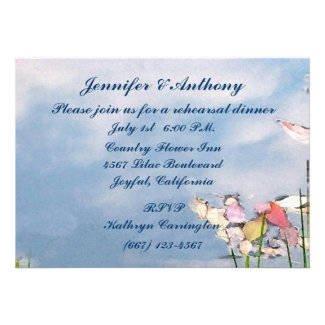 Pastel Reflections Wedding Rehearsal Dinner Custom Invitations