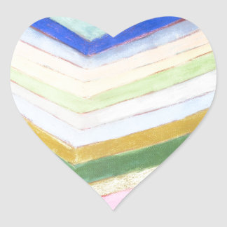 Pastel Refraction (abstract naive expressionism) Heart Sticker