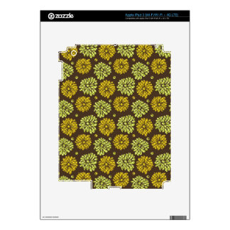 Pastel Retro Flowers Pattern-Brown Green Yellow Decals For iPad 3