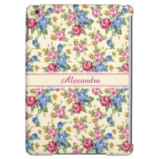Pastel Romantic blossom Pink, Red, Blue Roses name Cover For iPad Air