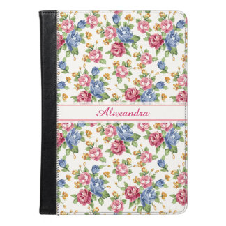 Pastel Romantic blossom Pink, Red, Blue Roses name iPad Air Case