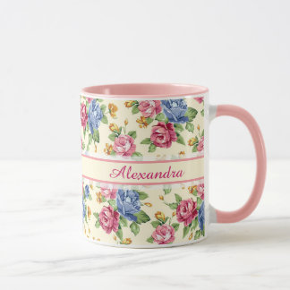 Pastel Romantic blossom Pink, Red, Blue Roses name Mug