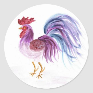 Pastel Rooster by EelKat Classic Round Sticker