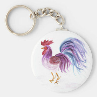 Pastel Rooster by Wendy C. Allen Key Chains