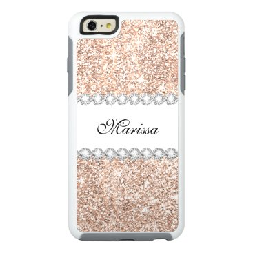 font themed Pastel Rose Gold Glitter Sparkles Beautiful White OtterBox iPhone 6/6s Plus Case