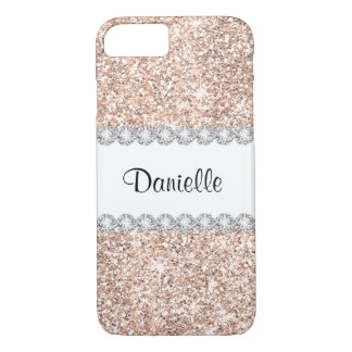 Pastel Rose Gold Glitter White Diamond Sparkles iPhone 8/7 Case