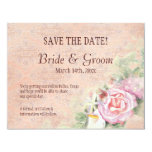 """Pastel Roses & Calla Lilies  - Save the Date Card 4.25"""" X 5.5"""" Invitation Card"""