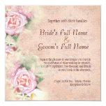 """Pastel Roses & Calla Lilies Wedding Invitation 5.25"""" Square Invitation Card"""