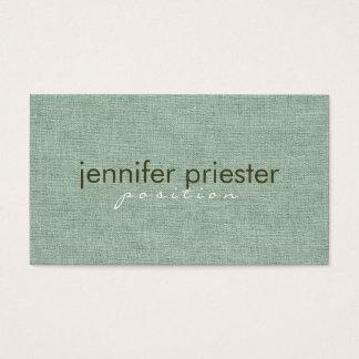 Pastel Sage Green Burlap Linnen Texture Business Card