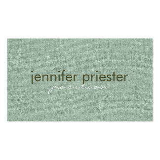 Pastel Sage Green Burlap Linnen Texture Double-Sided Standard Business Cards (Pack Of 100)