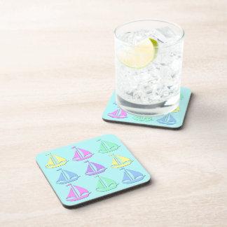 Pastel Sail Boat Pattern Drink Coaster Set (6)
