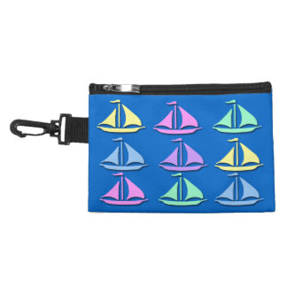 Pastel Sailboat Pattern Clip On Accessory Bag