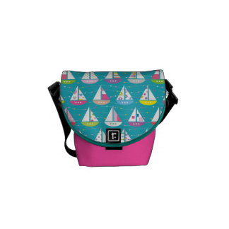 Pastel Sailboat Pattern Courier Bag