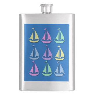 Pastel Sailboat Pattern Premium Flask