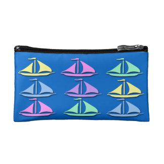 Pastel Sailboat Pattern Small Cosmetic Bag