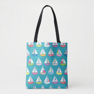 Pastel Sailboat Pattern Tote Bag