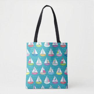 Pastel Sailboat Pattern Tote Bag