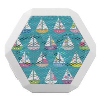 Pastel Sailboat Pattern White Bluetooth Speaker