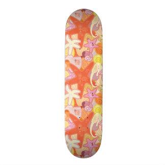 Pastel Sea Creature Pattern Skateboard
