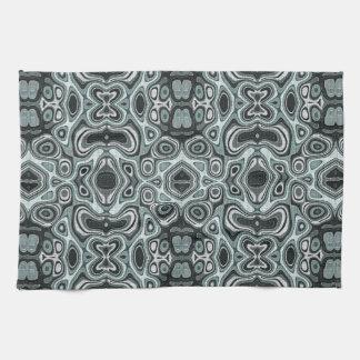 Pastel Sea Foam Green Gray Bali Batik Pattern Kitchen Towels