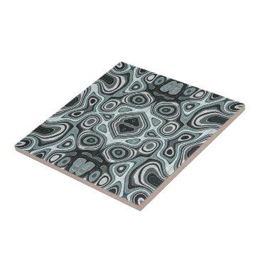 LolasClassyCeramics Pastel Sea Foam Green Gray Bali Batik Pattern Tile