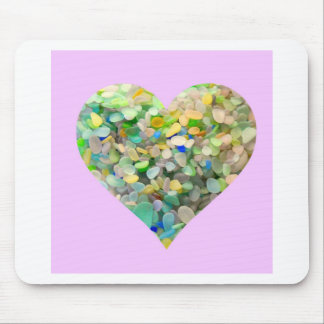 Pastel Sea Glass Heart In Pink Mouse Pad
