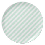 Pastel Sea Green and White Stripes. Dinner Plates