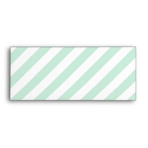 Pastel Sea Green and White Stripes. Envelopes