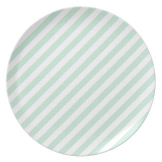 Pastel Sea Green and White Stripes. Melamine Plate