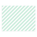 Pastel Sea Green and White Stripes. Postcards