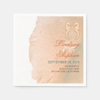 Pastel Seahorse Couple Beach Wedding Napkin