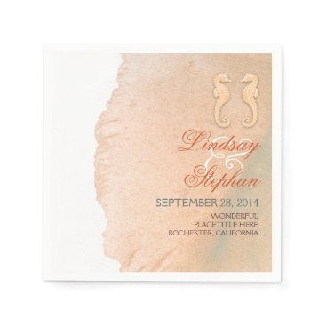 Beach Themed Pastel Seahorse Couple Beach Wedding Napkin