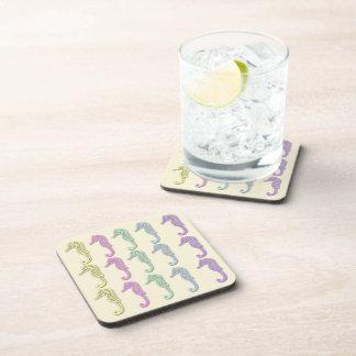 Pastel Seahorse Pattern 2 Drink Coaster Set (6)