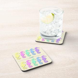 Pastel Seahorse Pattern Drink Coaster Set (6)