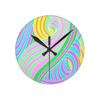 Pastel Seventies Trippy Background Round Clock