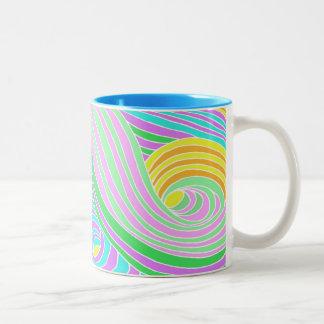 Pastel Seventies Trippy Background Two-Tone Coffee Mug
