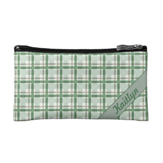 Pastel shades of green tartan pattern with name cosmetic bag