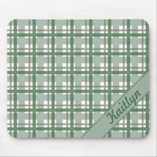 Pastel shades of green tartan pattern with name mouse pad