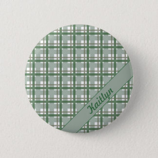 Pastel shades of green tartan pattern with name pinback button