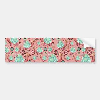 Pastel Shell Flower Tortoise Pattern Bumper Sticker