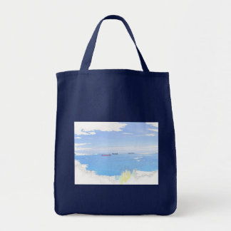 Pastel Ships At Sea Photo Image Grocery Tote Bag