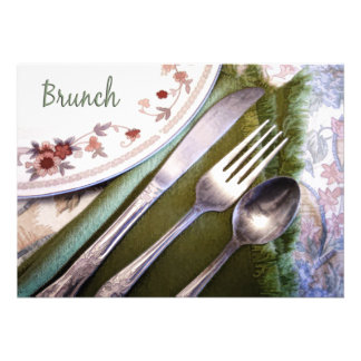 Pastel Sketch of Place Setting Brunch Announcements