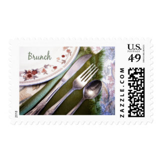 Pastel Sketch of Place Setting Brunch Postage Stamp