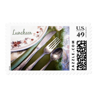 Pastel Sketch of Place Setting Luncheon Postage