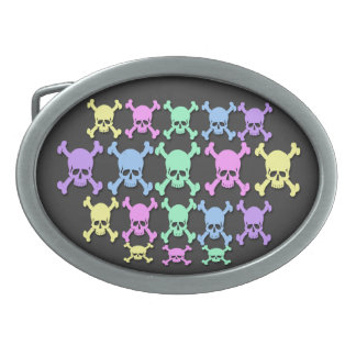 Pastel Skull Pattern Oval Belt Buckle