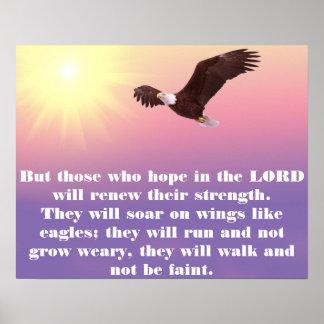 Pastel Sky, Eagle, Hope Strength Bible Verse Poster