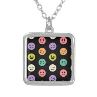 pastel smiley faces silver plated necklace