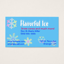 snow cone business cards templates zazzle. Black Bedroom Furniture Sets. Home Design Ideas