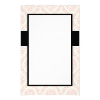 pastel soft light cream and pink damask custom stationery